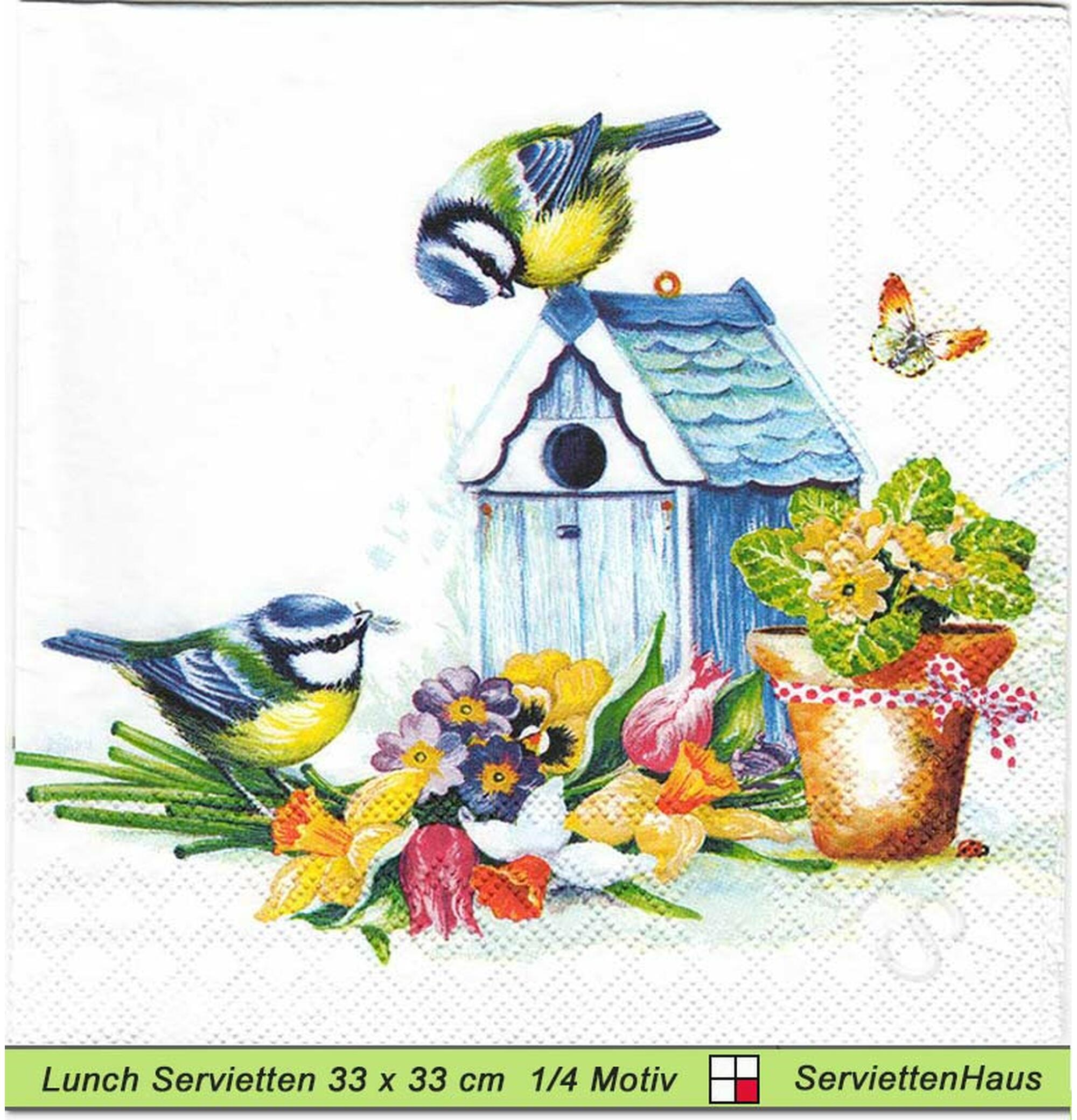20 Servietten Narzissen Vögel 1 Packung Motivservietten Ambiente Frühling Schmet