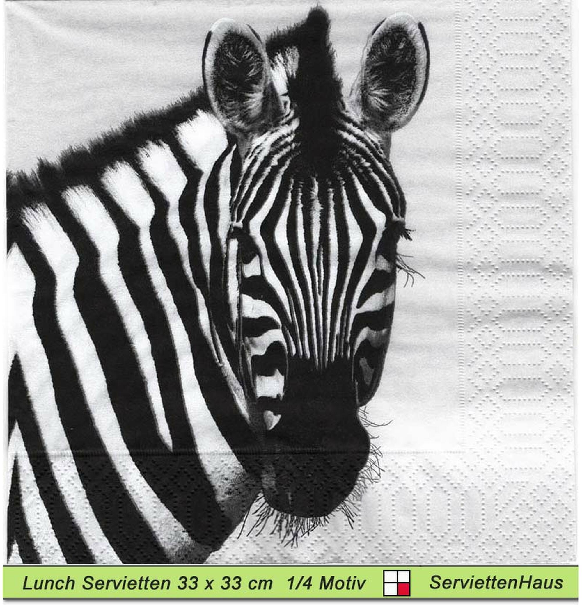 20 Stück Afrikanische Tiere Servietten mit Zebra 33 x 33 cm Servietten Zebra