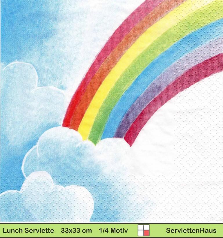 regenbogen mit wolken  1 lunch serviette